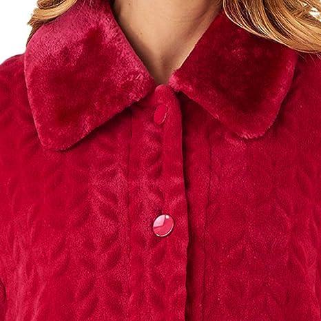 Slenderella Ladies Faux Fur Collar Dressing Gown Womens Super Soft Fleece  Bathrobe  Amazon.co.uk  Clothing 5931da540