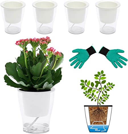 DeElf clear self watering plastic pots product image