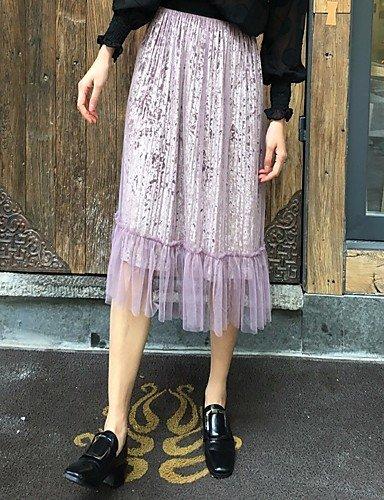 DRESS ZLL Mujer Tiro Alto Midi Faldas,Línea A Un Color: Amazon.es ...