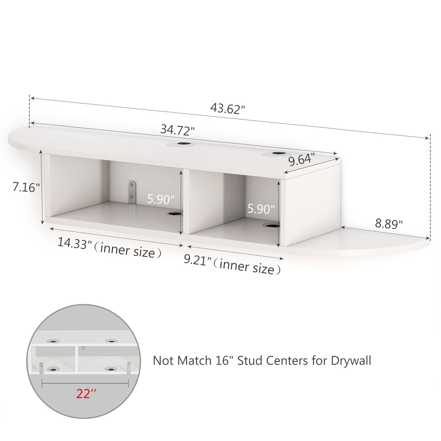 Tribesigns 2 Tier Modern Wall Mount Floating Shelf TV Console 43.3x9.4x7 inches for Cable Boxes//Routers//Remotes//DVD Players//Game Consoles White