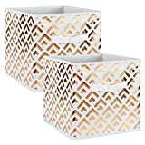 DII Foldable Double Diamond Fabric Storage Containers for Cube Organizers, Toys, Cloths or Knick Knacks (Set of 2), 13 x 13 x 13, Gold