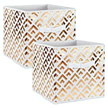 """DII Foldable Double Diamond Fabric Storage Containers for Cube Organizers, Toys, Cloths or Knick Knacks (Set of 2), 13 x 13 x 13"""", Gold"""