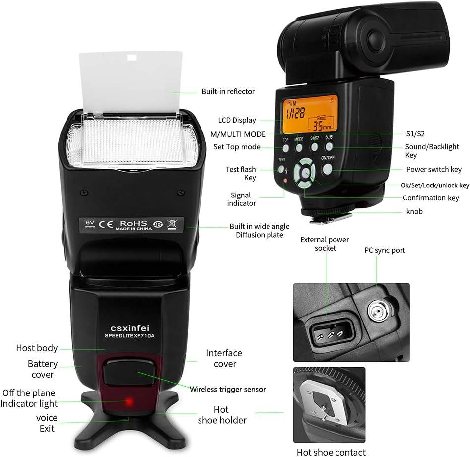 CSxinfei XF710A High Guide No.58 Flash Speedlite for Canon Nikon Pentax Olympus Fujifilm Panasonic DSLR Digital Cameras with Standard Hot Shoe