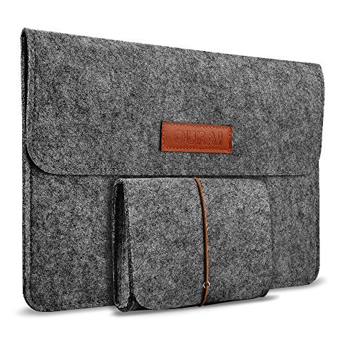 OURAI 13/13.3 Inch Laptop Sleeve Case Cover Protective Laptop Briefcase Bag Ultrabook Netbook Notebook Carrying Case Bag (Dark Grey)