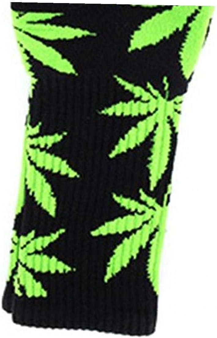 negro Y Verde Lankater 1 Par De Calcetines De Algod/ón C/ómodo Impresos Hoja De Marihuana Calcetines Largos Ocasionales Weed Tripulaci/ón Deporte Calcetines