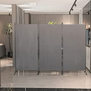 YASRKML 3 Panel Partition Room Dividers, Folding Privacy Screen for Office, Wall Room Separators Divider, Freestanding Outdoor Changing Wall 102x71.3in (Gray)