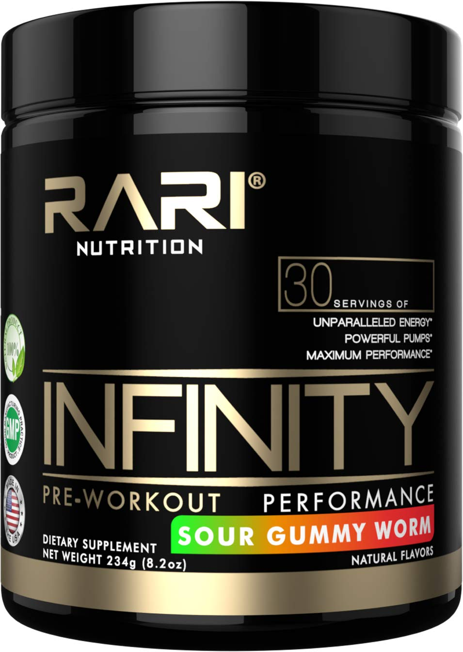 RARI Nutrition - Infinity - 100% Natural Pre Workout Powder for Energy, Focus, and Performance - Vegan and Keto Friendly - No Creatine - No Artificial Ingredients - 30 Servings (Sour Gummy Worm)