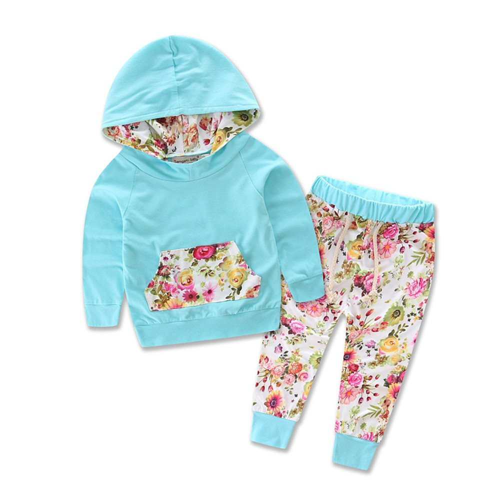 Samgami Baby Baby Clothing Girls Hoodie Pant Set Leggings Outfits Cotton Pants Suit Clothes Blue)