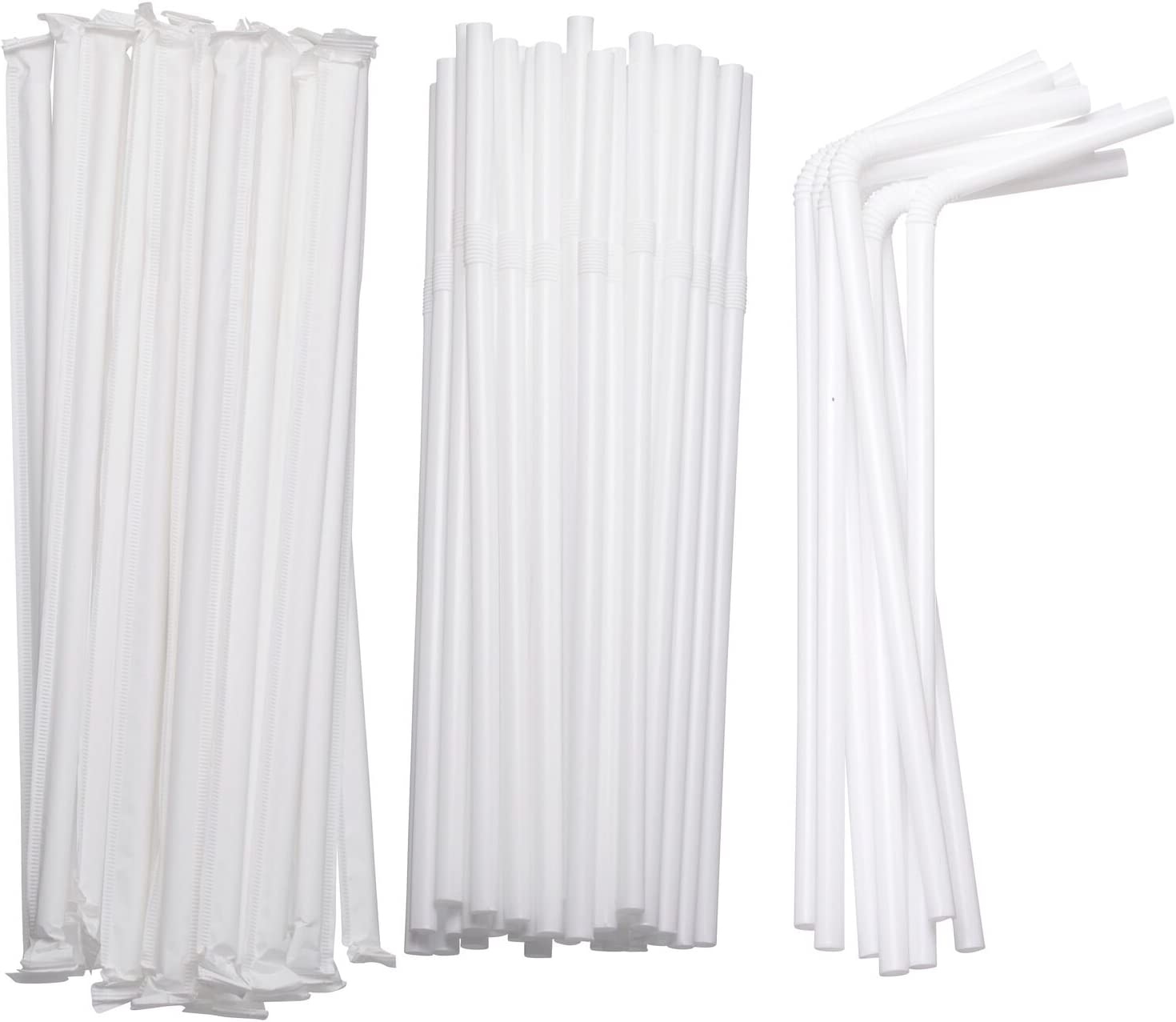 Flexible Drinking Straws in Bulk | 7 3/4 Inches Long Straws for Cold Hot Drinks, Parties Individually Wrapped and Disposable, White in Color (2 Packs/800 Straws)