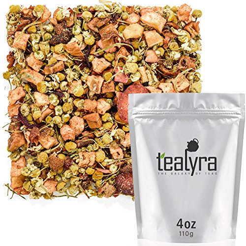 Tealyra - Strawberry Seduction - Chamomile and Strawberry Herbal Tea with South African Rooibos Tea - Loose Leaf Relax Tea - Blend - Caffeine-Free - 110g (4-ounce)