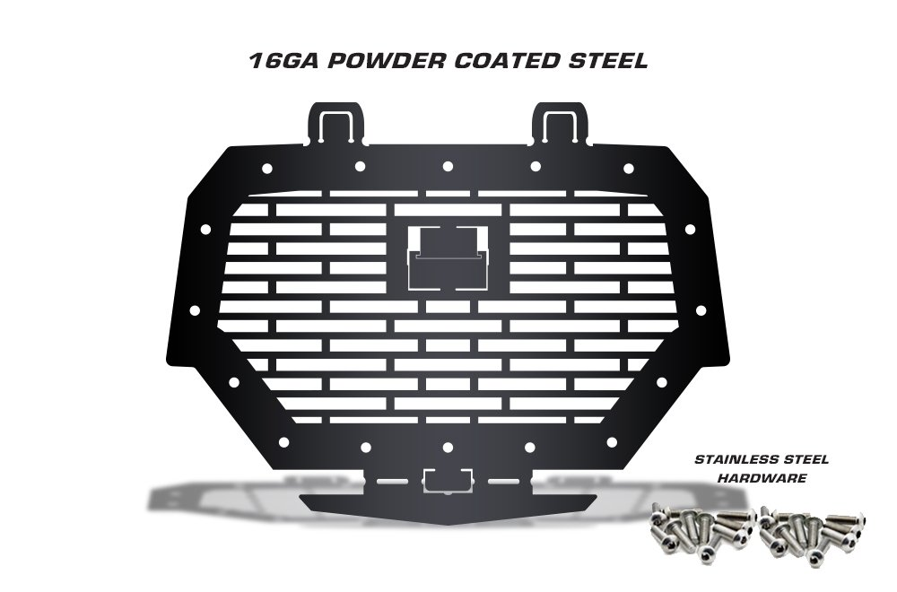 Single Piece Powder Coated Satin Black UTV Grill Bricks 300 Industries Full Replacement Steel Grille for RZR 1000 Ride Command Made in USA