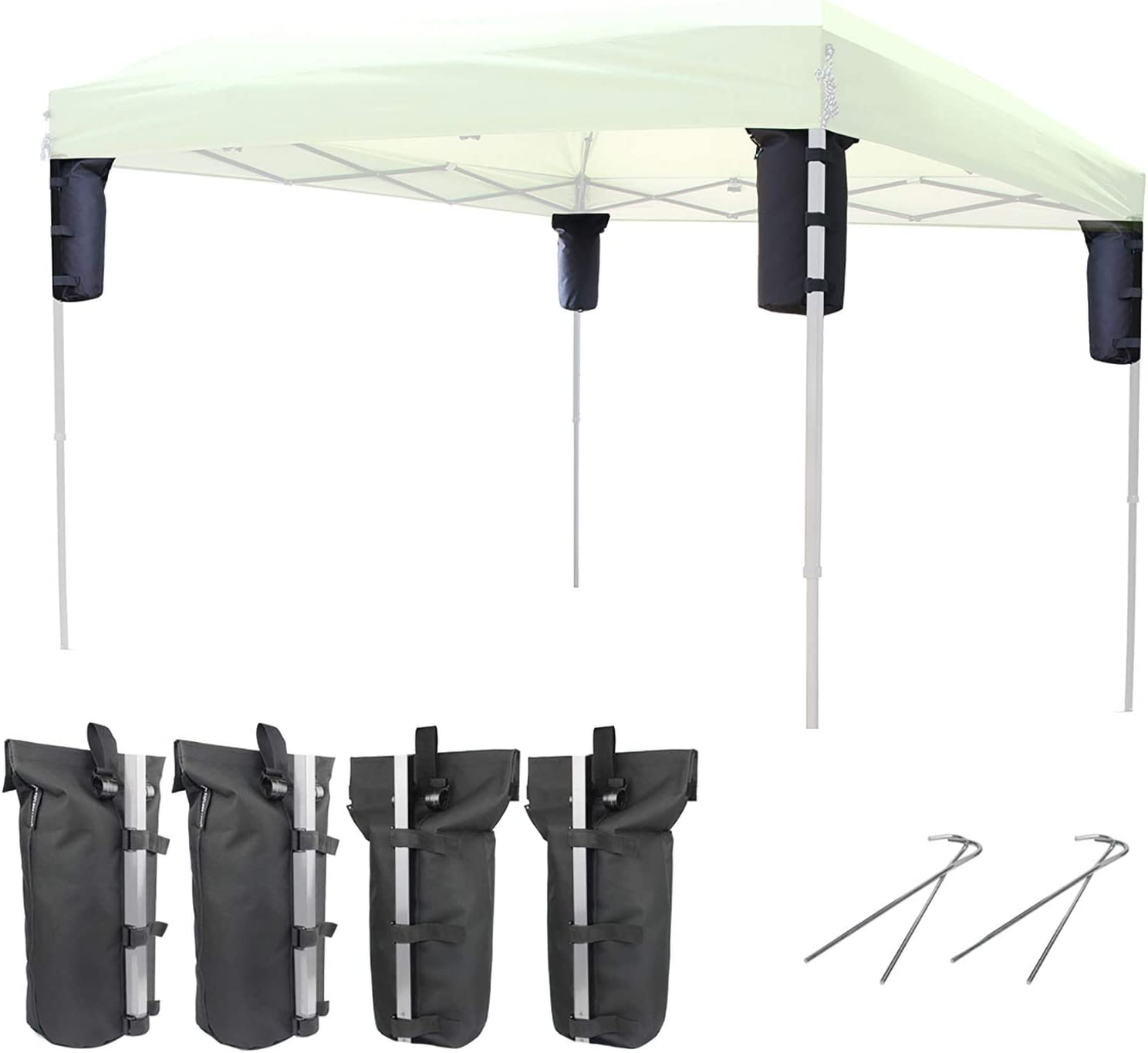 Explore Land 2-in-1 Weight Bag for Portable Pop-up Canopy Tent Gazebo Outdoor Up to 30 lb, Without Sand (4, Black)