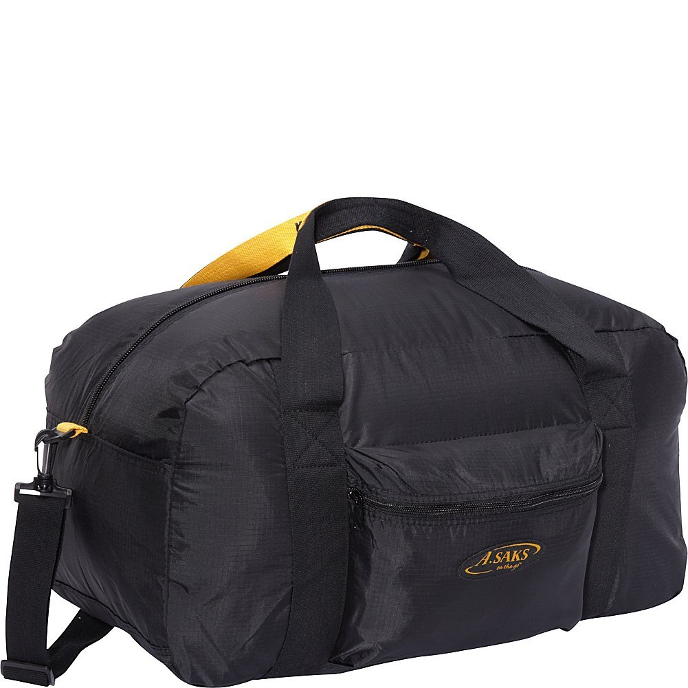 A. Saks 22''Carry-On Nylon Duffel Bag With Pouch (Black)