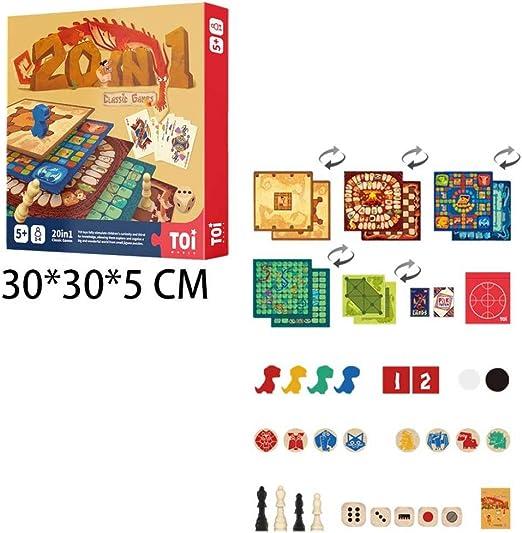 ZZH Compendio Juegos Clásicos Grandes 20 En 1, Dados Juegos Juegos Mesa, Principiantes, Paquete Familiar 1-4 Jugadores, Edades 5,A: Amazon.es: Hogar