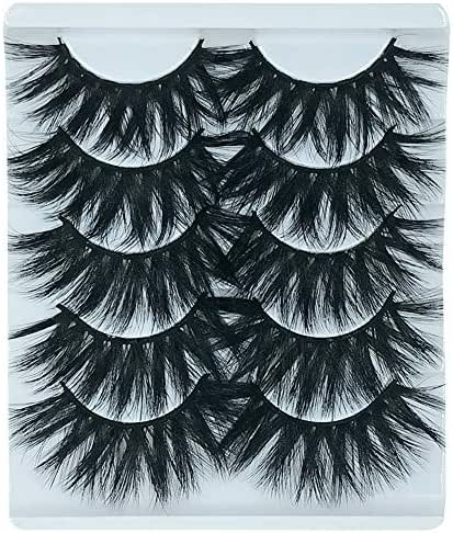 5 Pairs Exaggerated 3D False Eyelashes Thick Eyelashes Extension Long Lashes With Volume for Women's Make Up Handmade Soft 3D Fake Eyelash (K505)