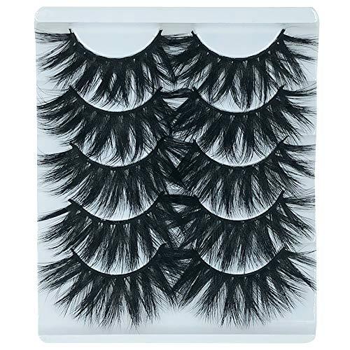 5 Pairs Exaggerated 3D False Eyelashes Thick Eyelashes Extension Long Lashes With Volume for Women's Make Up Handmade Soft 3D Fake Eyelash -