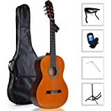 """WINZZ 39 Inches Nylon String Student Classical Guitar with """"Smile"""" Bridge, Bag, Tuner, Stand, Capo"""