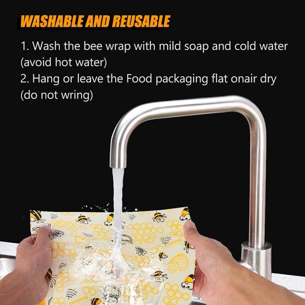 Au Miel Emballage Alimentaire R/éutilisable et /Écologique Fromage Collations Pain Hospaop Emballage Cire dabeille pour Sandwichs Fruits Emballage Alimentaire R/éutilisable de Cire dabeille