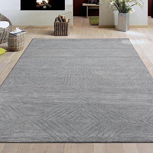 Ottomanson Hampton Collection Geometric Diamond Mosaic Design Hand-Tufted Wool Rug, 5' X 7', Grey -