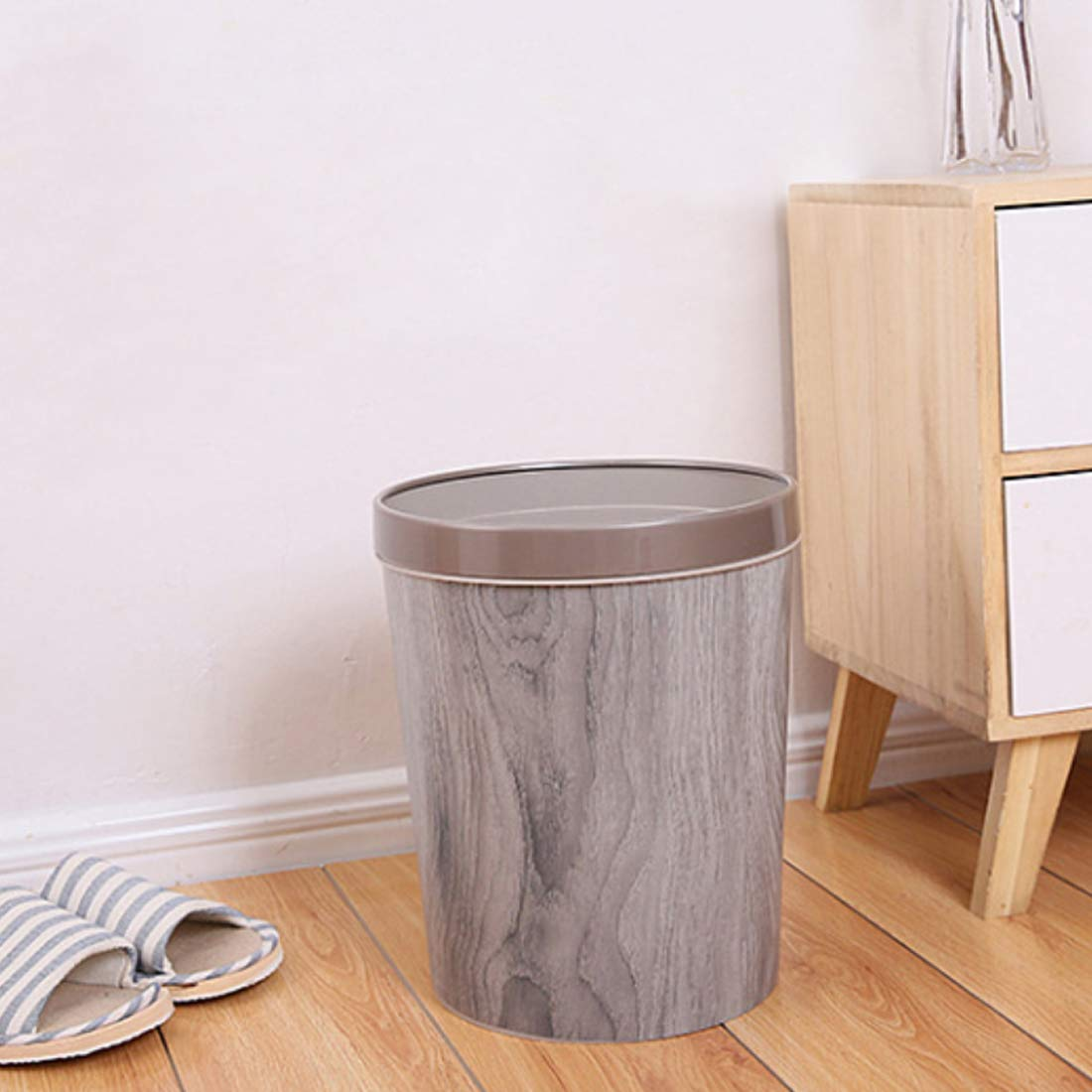 WOLFBUSH 12L Trash Can Durable Garbage Can Waste Basket with Wood-Grain European Style Wastebin for Bathroom, Bedroom, Office (Silver Grey) by WOLFBUSH (Image #3)