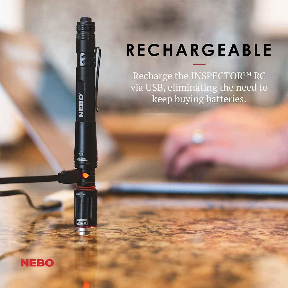 Nebo Inspector RC penlight flashlight 360 Lumen Rechargeable /& Waterproof EDC pocket Bundle with EdisonBright USB Wall Adapter