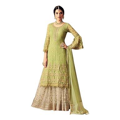 5bd7404844 Amazon.com: ADINTERNATIONAL Adi Indian Ethnic Designer Casual Party wear  Dress Net Straight Palazzo Salwar Suit Embroidered Women Wear 1013: Clothing