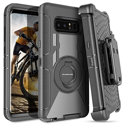 Note 8 Case,Galaxy Note 8 Case,Samsung Note 8 Case Belt Clip, DUEDUE Heavy Duty Shockproof Kickstand Swivel Full Body Rugged Bumper Hybrid Holster Protective Case for Samsung Galaxy Note 8, Black