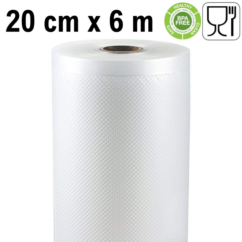 Rollo gofrado de envasado al vacío (20cm x 6 metros) (2 uds.): Amazon.es: Hogar