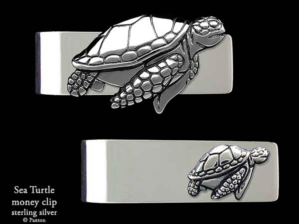 Sea Turtle Money Clip in Solid Sterling Silver Hand Carved, Cast & Fabricated by Paxton by Paxton Jewelry