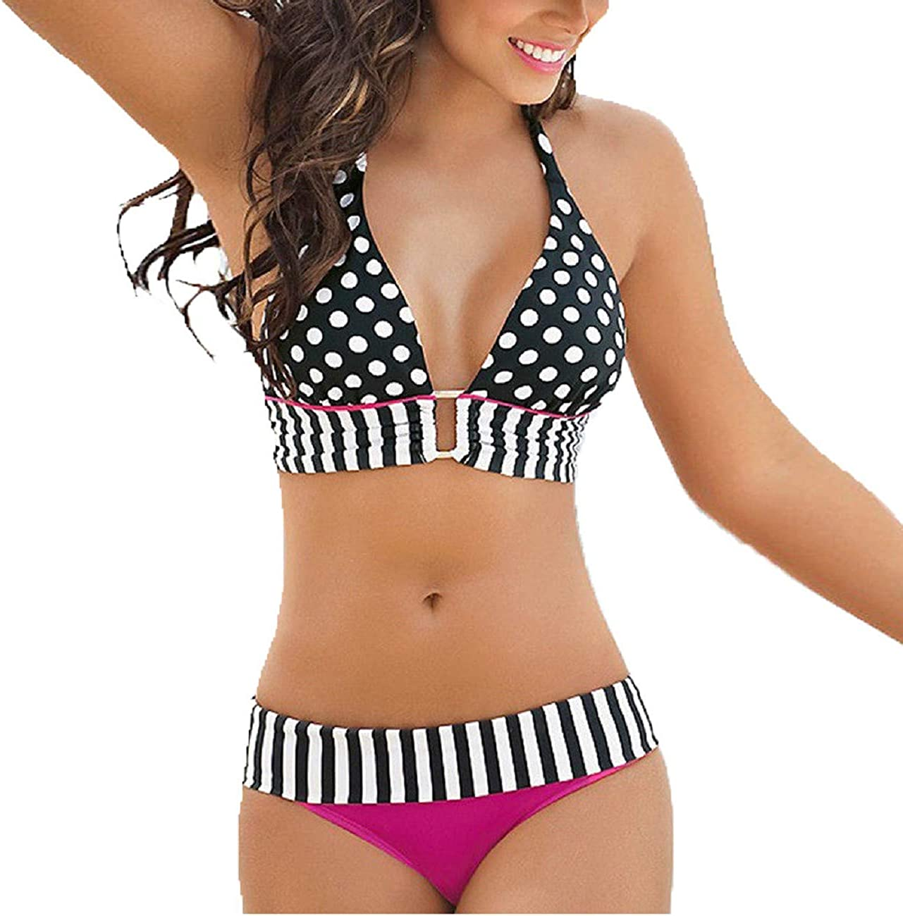 Adreamess Women Swimwear Stripe Polka Dot Print Bikini Set Bandage Push-Up Swimsuit Bathing Beachwear