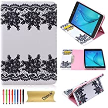 Tab A 8.0 Case, Dteck(TM) Ultra Slim Lightweight PU Leather Smart Shell Case [Card & Money Slots] Stand Protective Wallet Cover for Samsung Galaxy Tab A 8.0 inches SM-T350 (05 Black and White Flower)