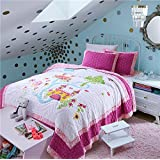 Newrara White and Pink Princess Castle Handmade Patchwork Quilt Set 100% Cotton Bedspread Twin