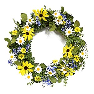 Puleo International 22-inch Artificial Sunflower Daisy Wreath Potted Plant 1