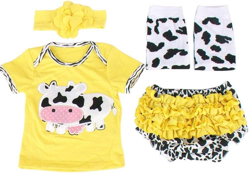 Odziezet Reci/én Nacido Beb/é Camiseta Ni/ñas Ni/ño Conjuntos Verano Manga Corto Shorts Estampado con Dibujo Vaca 4 Pieces