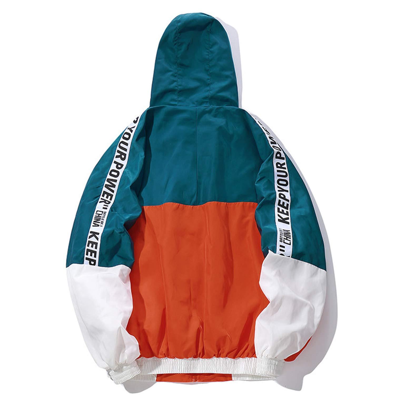 Hip Hop Mens Hooded Windbreaker Jacket Vintage Color Block Loose Track Hoodie at Amazon Mens Clothing store: