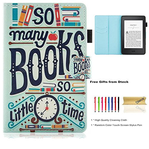 Dteck Kindle Paperwhite Case, Flip Folio Cute Cartoon Slim Light Smart Case with [Stylus Pen] Synthetic Leather Wallet Protective Cover Case for Amazon Kindle Paperwhite E-Reader-Books