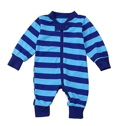 chshe Kids botón abajo cremallera rayas costura Pelele bebé recién ...