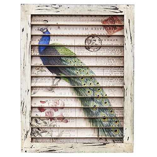 Nearly Natural 7022 Peacock Window Shutter Wall Decor