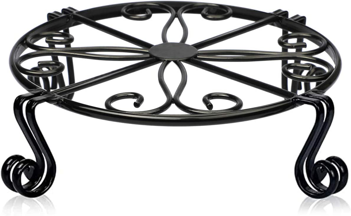 Black Plant Stand for Flower Pot Heavy Duty Potted Holder Indoor Outdoor Metal Rustproof Iron Garden Container Round Supports Rack for Planter Bronze, Pumpkin Stand Outdoor (12 x 3.1 Inches, Black)