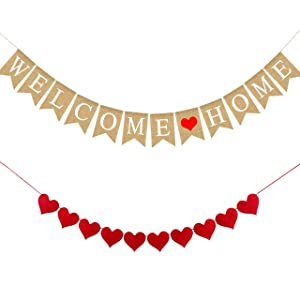 Welcome Home Banner Burlap Sign Party Decorations, Rustic Bunting Garland Family Gathering Photo Booth Props