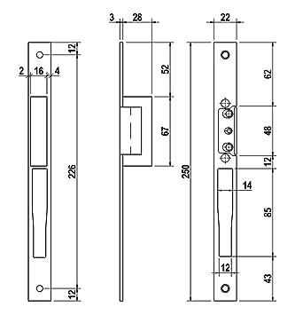 226 x 22 mm Lince 991103N Cerradero El/éctrico