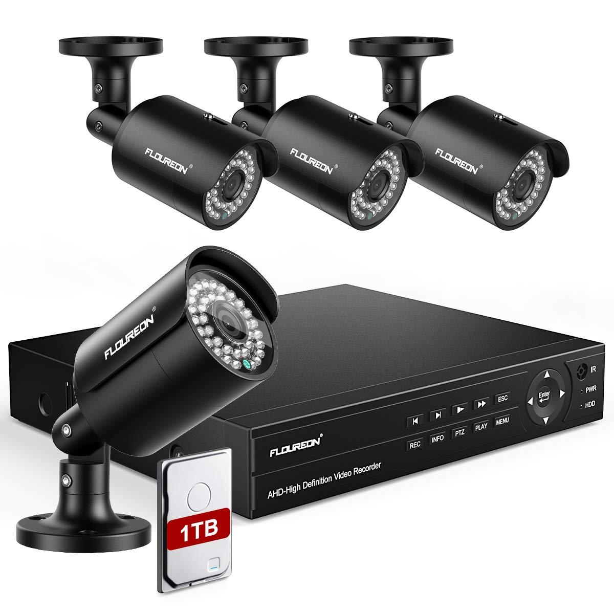 FLOUREON DVR Kits de Vigilancia 6 En 1 (Grabadora de Video DVR H.265 + 4*HD 1080P XVI CCTV Seguridad de Cámara IP + Disco Duro de 1TB HDD) IP66 Detección Humana, Alerta de Movimiento, Acceso Remoto