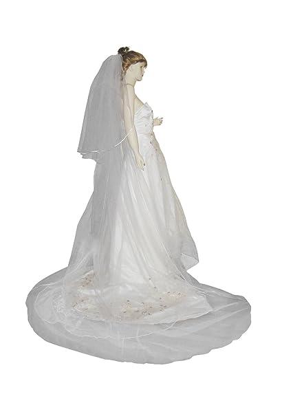 Shop Ginger Wedding 2T Bridal Veil Long Satin Rattail Edge Handmade Ship USA Chapel 30x90