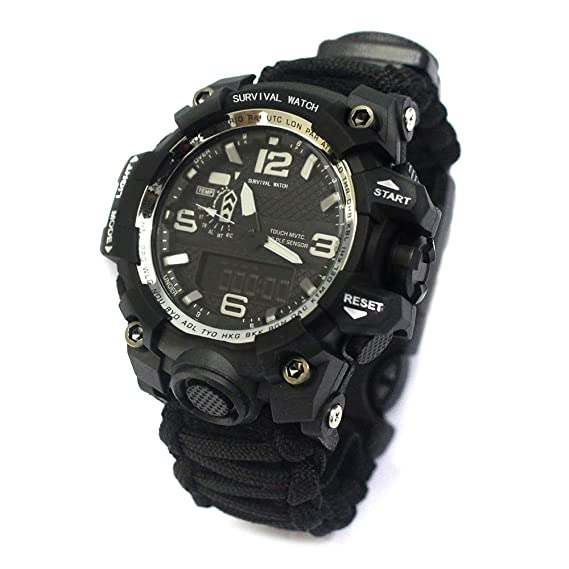 Outdoor Survival Watch-Vovomay Bracelet with Flint Fire Starter Compass Whistle (A)