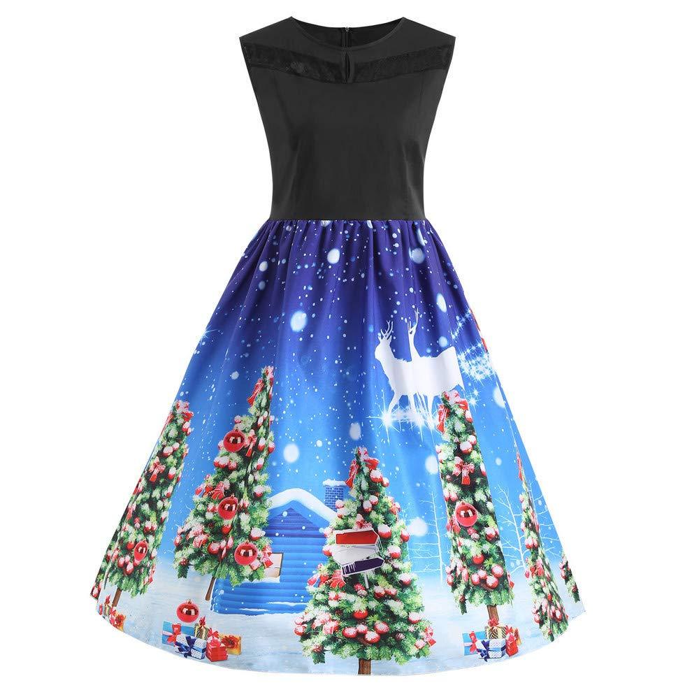 IMJONO Mujer Sin Mangas Navidad Impreso Vestido Noche Paseo ...