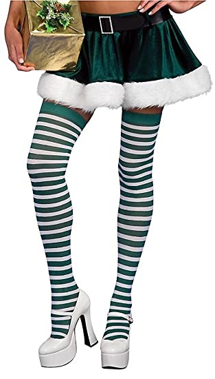 151ab28d78e8e Rubie's Green and White Striped Thigh Highs Stocking, Green/White, One Size