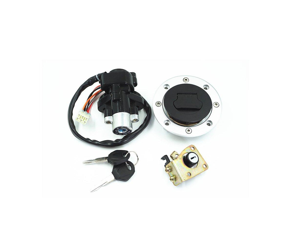 EODUDO-S Motorcycle Seat Lock 2 Line Ignition Switch Fuel Gas Cap Lock Key for Suzuki GSXR600 Motorcycle & Powersports