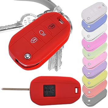 Key Soft Case Cover Llave Protectora del Coche Peugeot 208 308 5008 2008 Llave Citroen C3 C4 Spacetourer Profesional Plegable/Color: Rojo