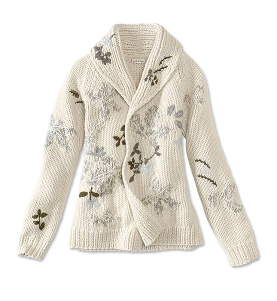 Orvis Women's Shawl-Collar Embroidered Sweater, Natural, Large by Orvis
