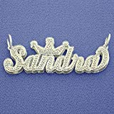 Silver Crown Script Name Pendant Necklace Diamond Accent 3D Double Plates Custom Made Jewelry